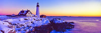 Horizontal,Maine,Panoramic,Pemaquid Point Lighthouse,landscape,Morning Lights,Cape Elizabeth,Frozen Winter,Portland,Bright eye