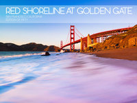 Red Shoreline, Golden Gate Bridge,San Francisco, California, cityscape,landscape,sunset