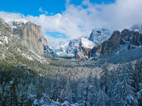 Snowcapped Capitan,California,Horizontal,Mountains,Yosemite National Park,blue,landscape,winter