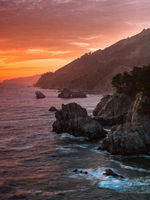 California Orange,Pacific,ocean,Julia Pfeiffer Burns State Park, California,sunset