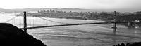 , Spanning Gates, Black and White, Bridge, California, Golden Gate Bridge, Panoramic, San Francisco, horizontal, BW, B&W, Black, White