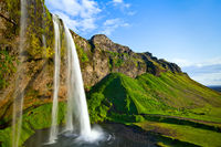 Waterfall Paradise,Horizontal,Iceland,Summer,blue,landscape,waterfall,Seljalandsfoss,Jewels,