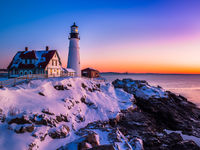 Winter Lights,Horizontal,Maine,New England,Pemaquid Point Lighthouse,Portland Lighthouse,landscape,ocean,sunrise,winter