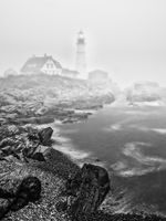 Foggy Warning, Black and White, Lighthouse, Maine, New England, Portland Lighthouse, BW, B&W, Black, White