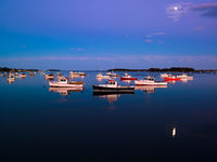 Moon over the Reach,Atlantic Ocean,Blue,Coast,Coastline,Fishing Boat,Lobster boat,Maine,Moon,New England,Night time,horizontal,long exposure