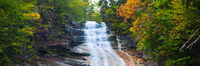 Autumn,Crawford Notch,Landscape,New England,New Hampshire,Panoramic,Ripley Falls,Waterfall,White Mountains,horizontal