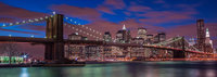 Brooklyn Bridge,Blue,Bridge,Brooklyne Bridge,City Skyscape,New York,New York City,Night time,Panoramic,horizontal,long exposure