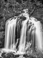 Columbia River Gorge, Oregon, The End, Black and White, waterfall, vertical