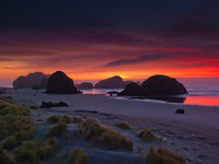 Sea Stack Gathering,coast,landscape,pacific ocean,sunset,Pistol River State Park, Oregon,Sea,Wave