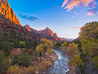 Moon Over Zion,Autumn,Blue,Desert,Yellow,Zion National Park,horizontal,orange,Autumn,River,Sunset