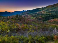 Quilted Valley,Autumn,Blue,Desert,Moutains,Sunrise,Utah,Yellow,horizontal