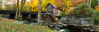 Fall Mill Resting,Horizontal,Panoramic,West Virginia,landscape,Babcock State Park, West Virginia,foliage,Mill,Glade Creek Grist
