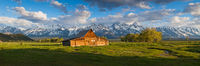 Memmories of Old,Grand Teton NP,Mormon Row,National Park,barn,green,landscape,morning,panoramic,rustic,sunrise