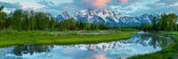 Touched by the Morning Sun,Grand Teton National Park, Wyoming, panoramic,water,green,river,reflection