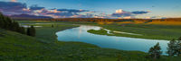Yellowstone National Park, Wyoming, Yellowstone River, panoramic, elk, bison