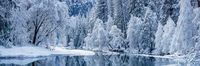 Winter at Merced,Yosemite National Park, Merced River, snow