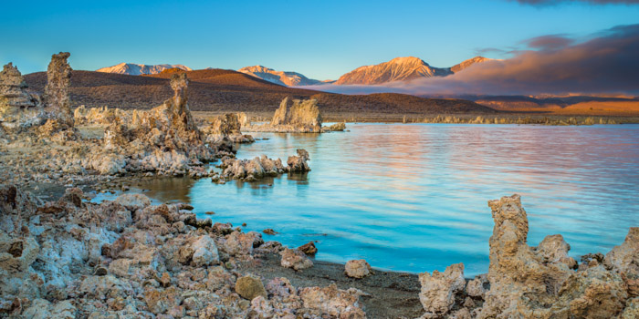 Sunrise at Mono Lake is like awaking on another planet.   Tufa encrusted landscapes fill your scene with odd structures that...
