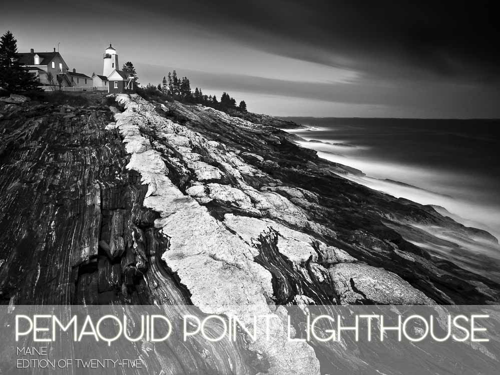 Black and White,Horizontal,Lighthouse,Maine,New England,Pemaquid Point Lighthouse,landscape,long exposure