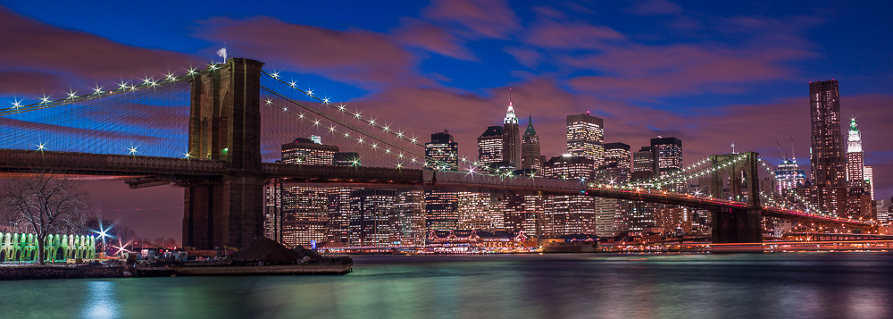 Brooklyn Bridge,Blue,Bridge,Brooklyne Bridge,City Skyscape,New York,New York City,Night time,Panoramic,horizontal,long exposure, photo