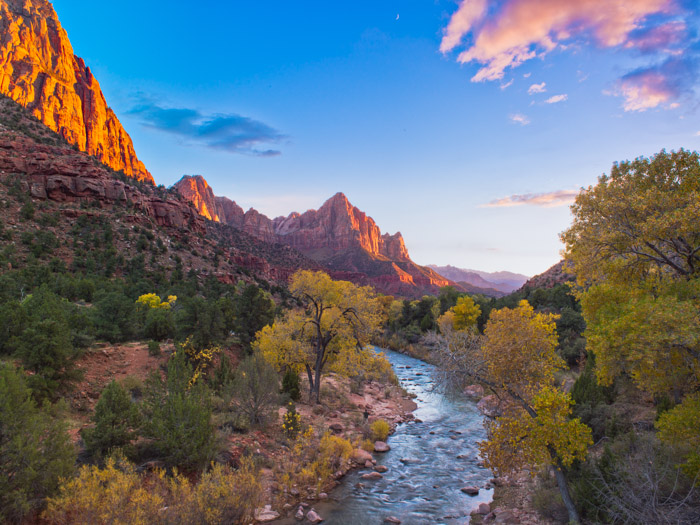 Moon Over Zion,Autumn,Blue,Desert,Yellow,Zion National Park,horizontal,orange,Autumn,River,Sunset, photo