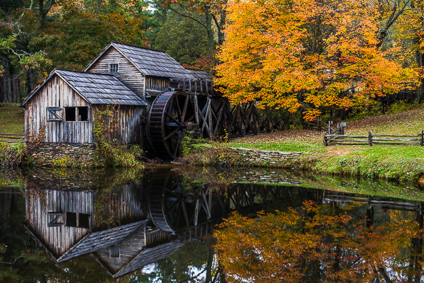 The Mill,Mabry Mill, Virginia,Mill,water,reflection, brown, green, photo