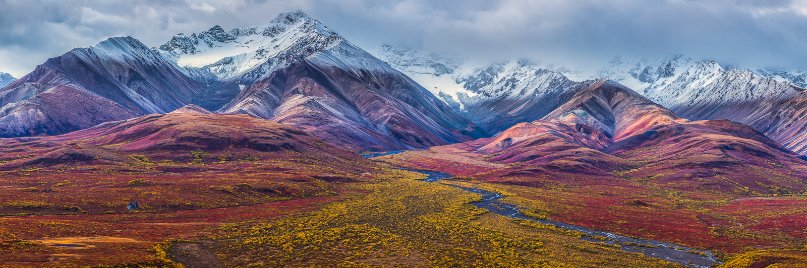 Autumns Rainbow,Denali National Park, Alaska,rainbow,autumn,panoramic,horizontal,brown, blue, landscape, photo