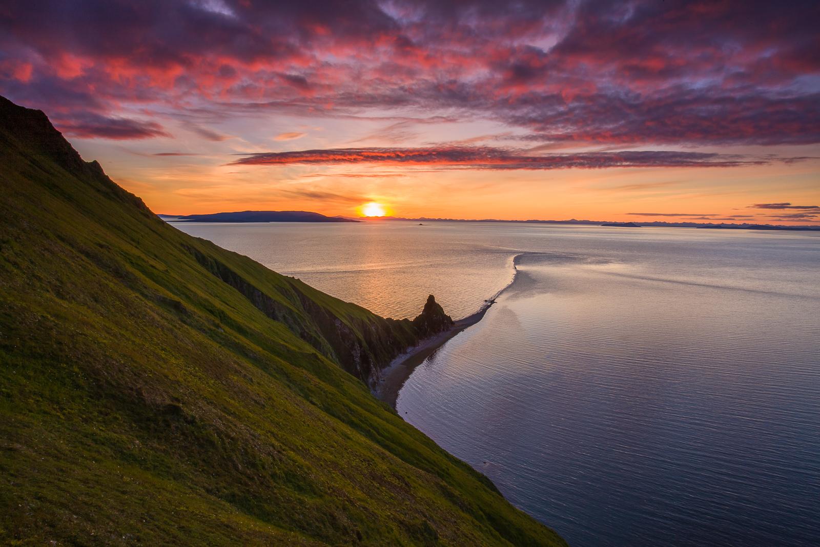 Round Island's Tail,Alaska,Island,purple,pink, green,hill, photo