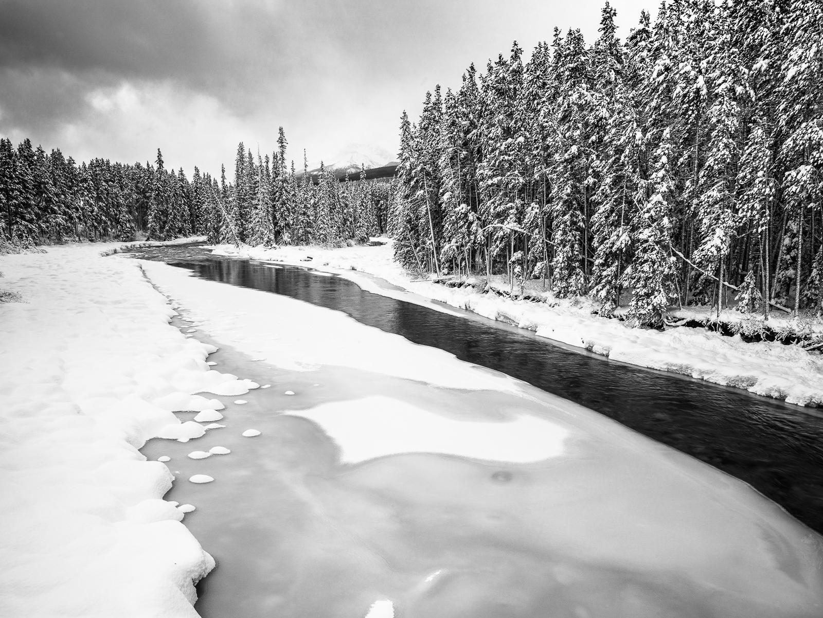 The Last Fishing Days, Canada, Horizontal, landscape, winter, Banf National Park, landscape, horizontal, B&W, BW, Black, White, photo