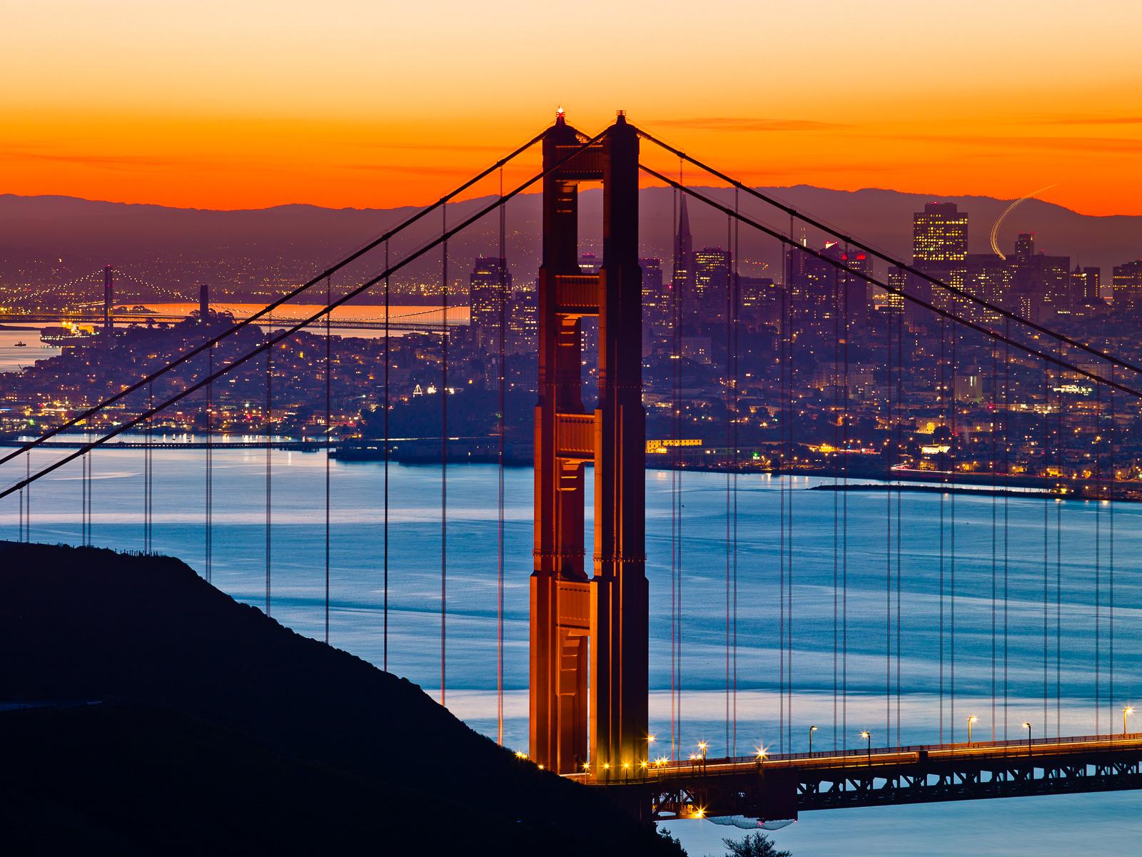 Bridge,California,Golden Gate,TowerBridge,Horizontal,Orange,San Francisco,blue,cityscape,landscape,pacific ocean,sunrise, photo