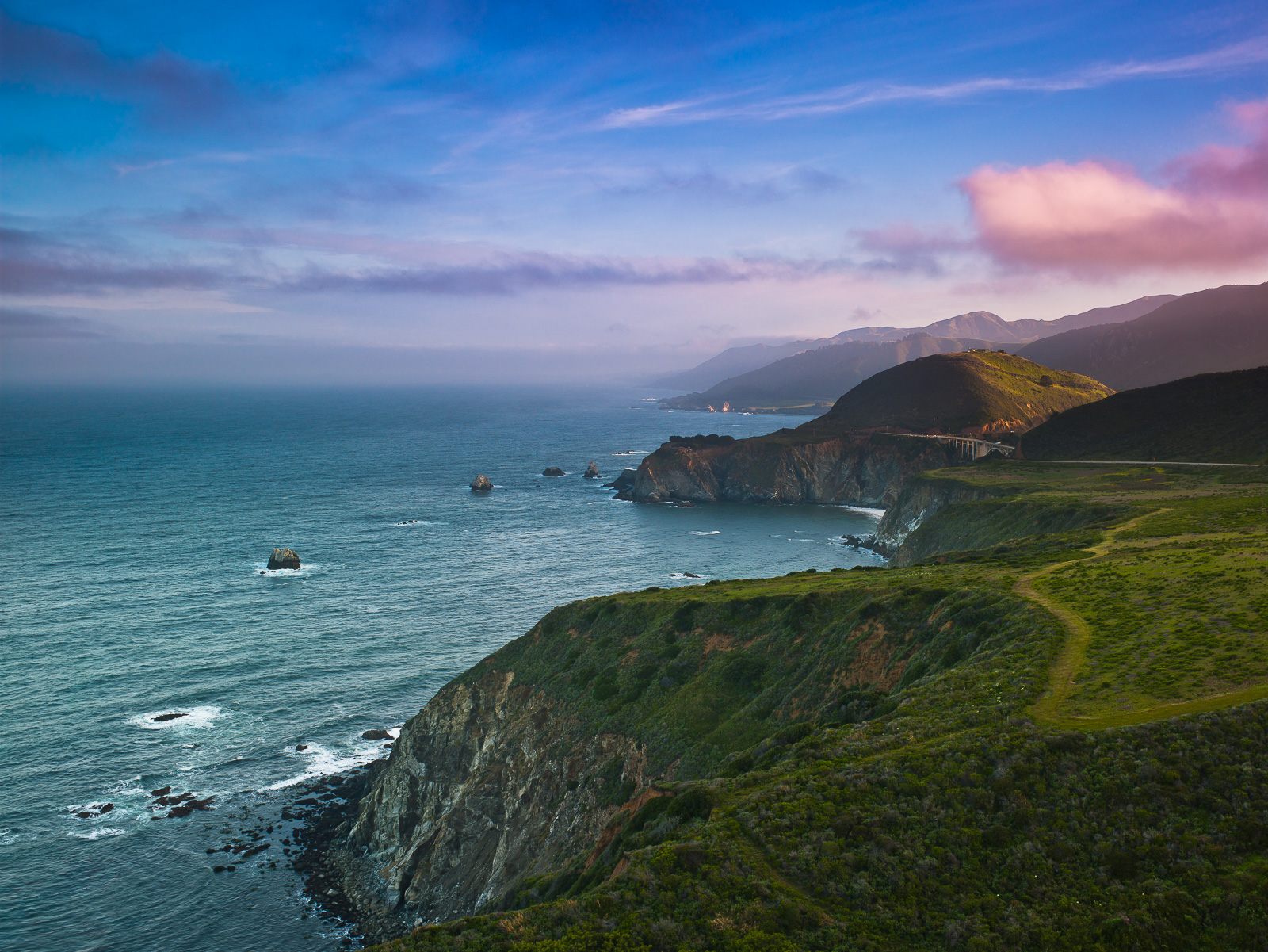 Serenity Path,California,Horizontal,Pacific,coastal,landscape,ocean,pacific ocean, photo