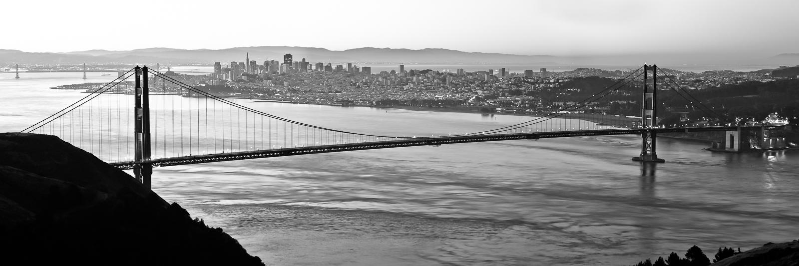 , Spanning Gates, Black and White, Bridge, California, Golden Gate Bridge, Panoramic, San Francisco, horizontal, BW, B&W, Black, White, photo