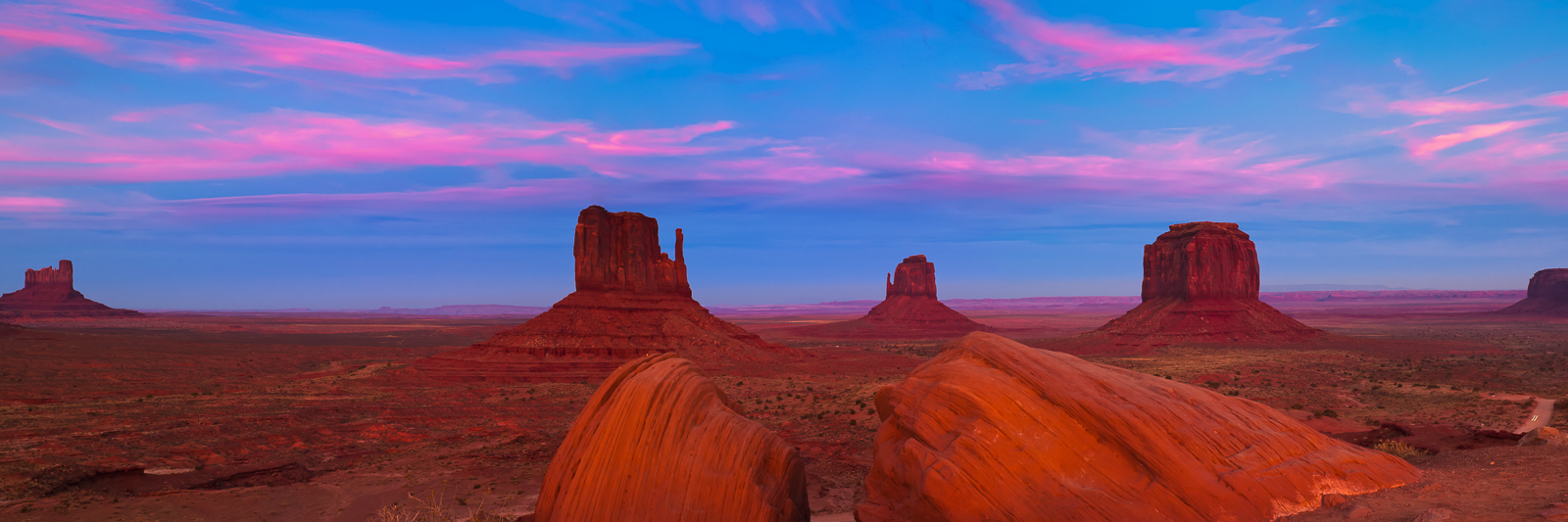 Desert,Horizontal,Monument Valley,Orange,Panoramic,landscape,sunset,pink,Arizona,Mittens,Pink Clouds,Night, photo