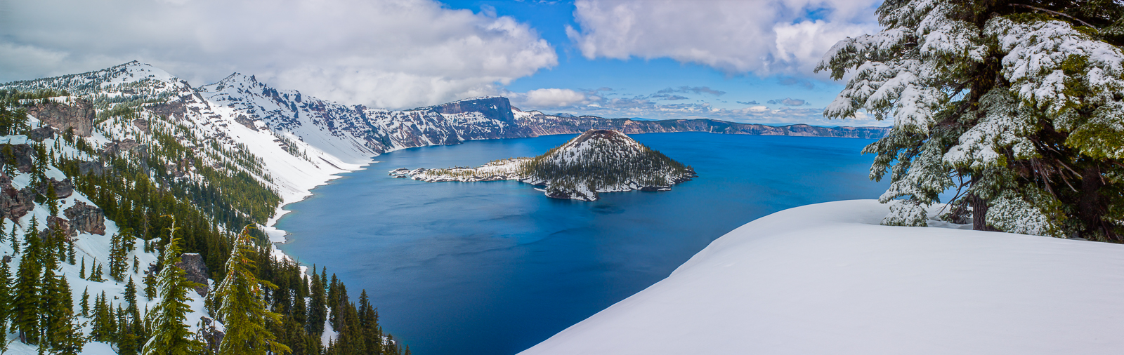Crater Lake Winter Isle,panoramic,Crater Lake, Winter Isle,snow, photo