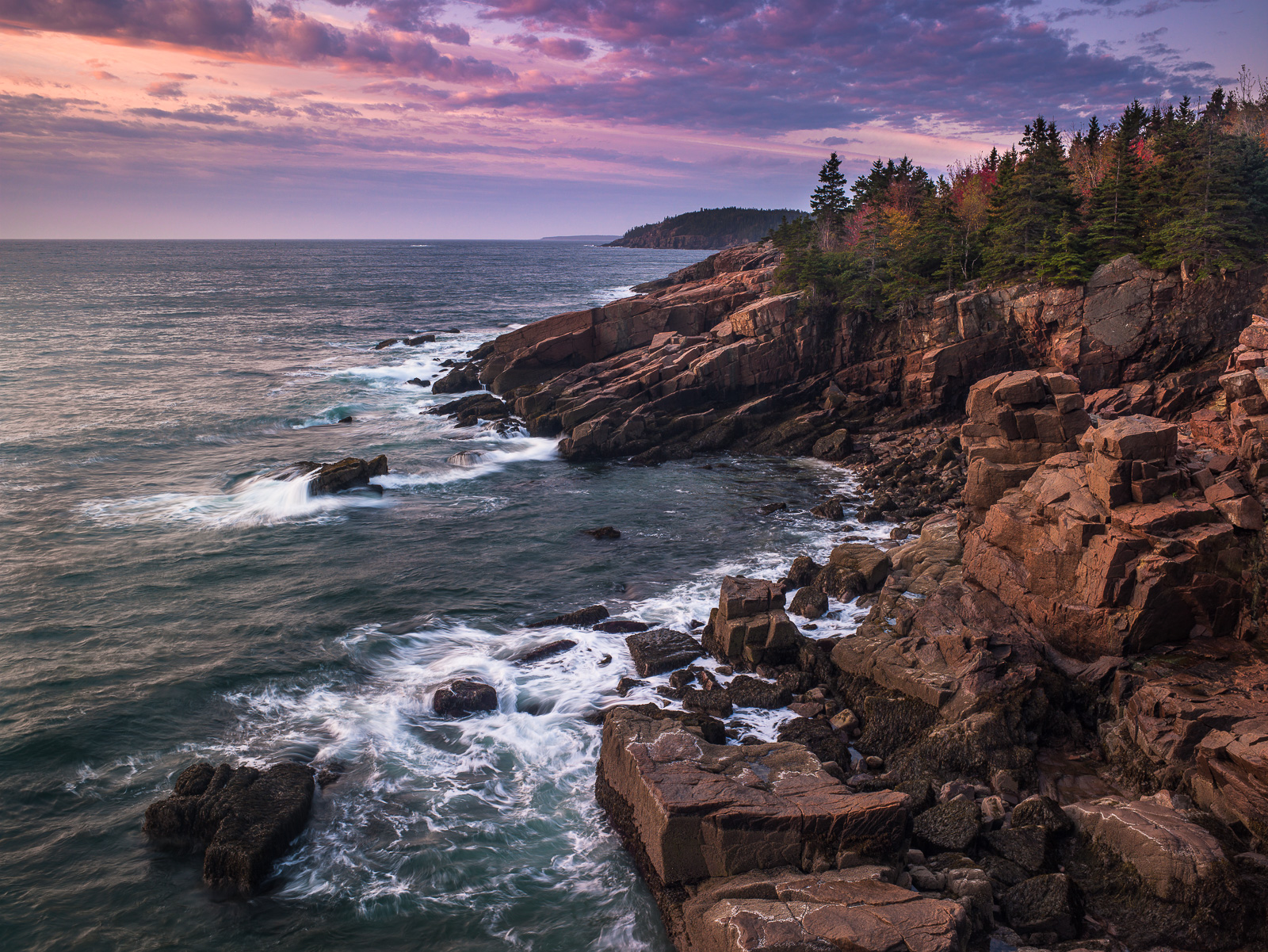 First Light at Acadia,Acadia National Park, Maine,shoreline,light,Ocean,, photo