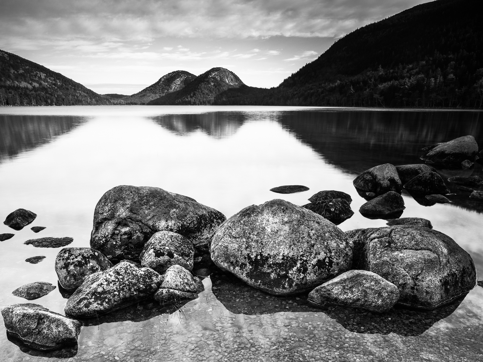 Granite at Bubble Pond, Acadia National Park, Black and White, Horizontal, Maine, Mountains, New England, landscape, BW, B&W, Black, White, photo