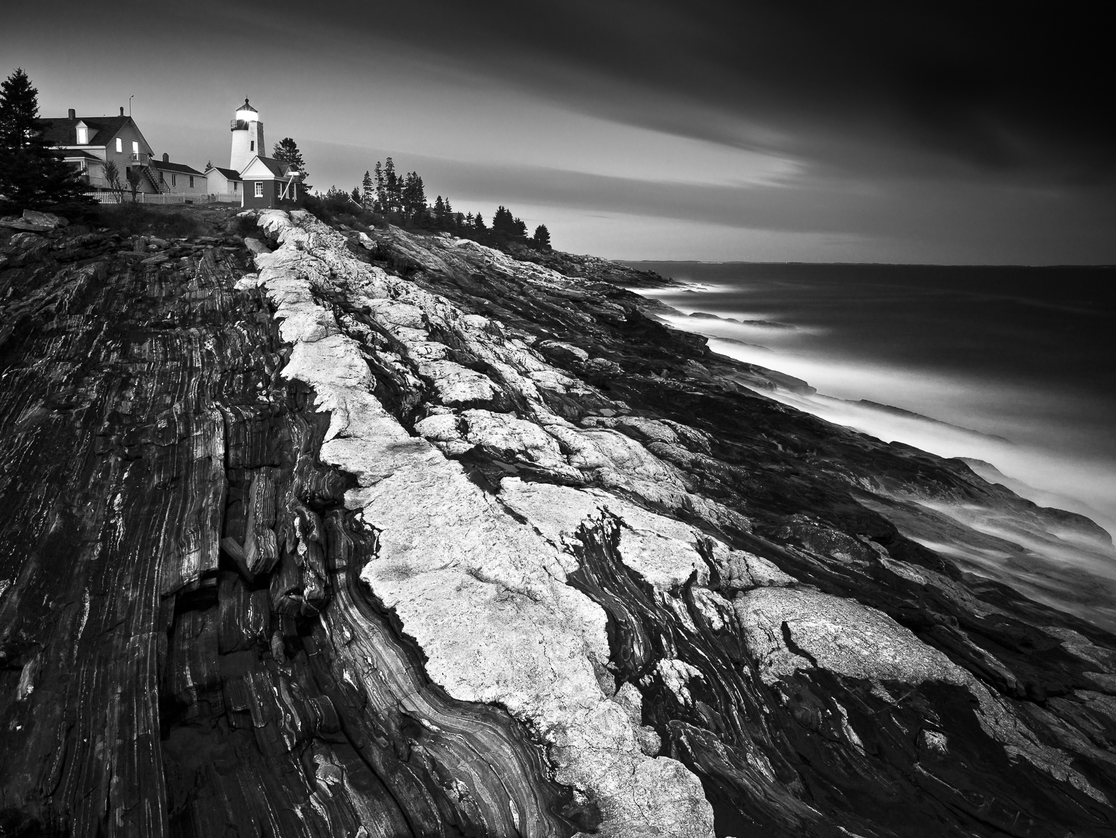 Pemaquid Point Lighthouse, Black and White, Horizontal, Lighthouse, Maine, New England, Pemaquid Point Lighthouse, landscape, long exposure, BW, B&W, Black, White, photo