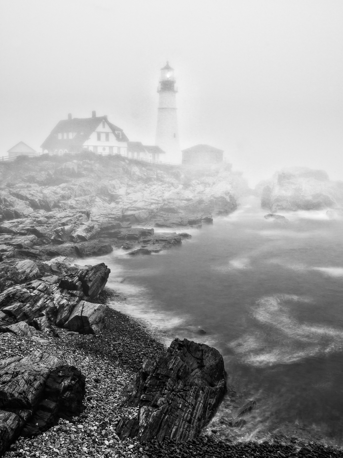 Foggy Warning, Black and White, Lighthouse, Maine, New England, Portland Lighthouse, BW, B&W, Black, White, photo