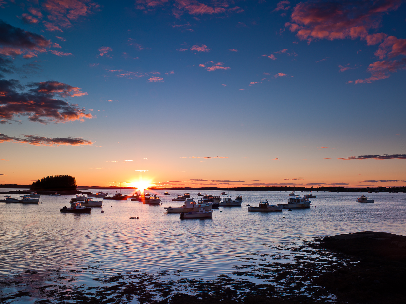 Jonesport Sunset,Fishing Boat,Lobster boat,Maine,New England,Sunset,horizontal, photo