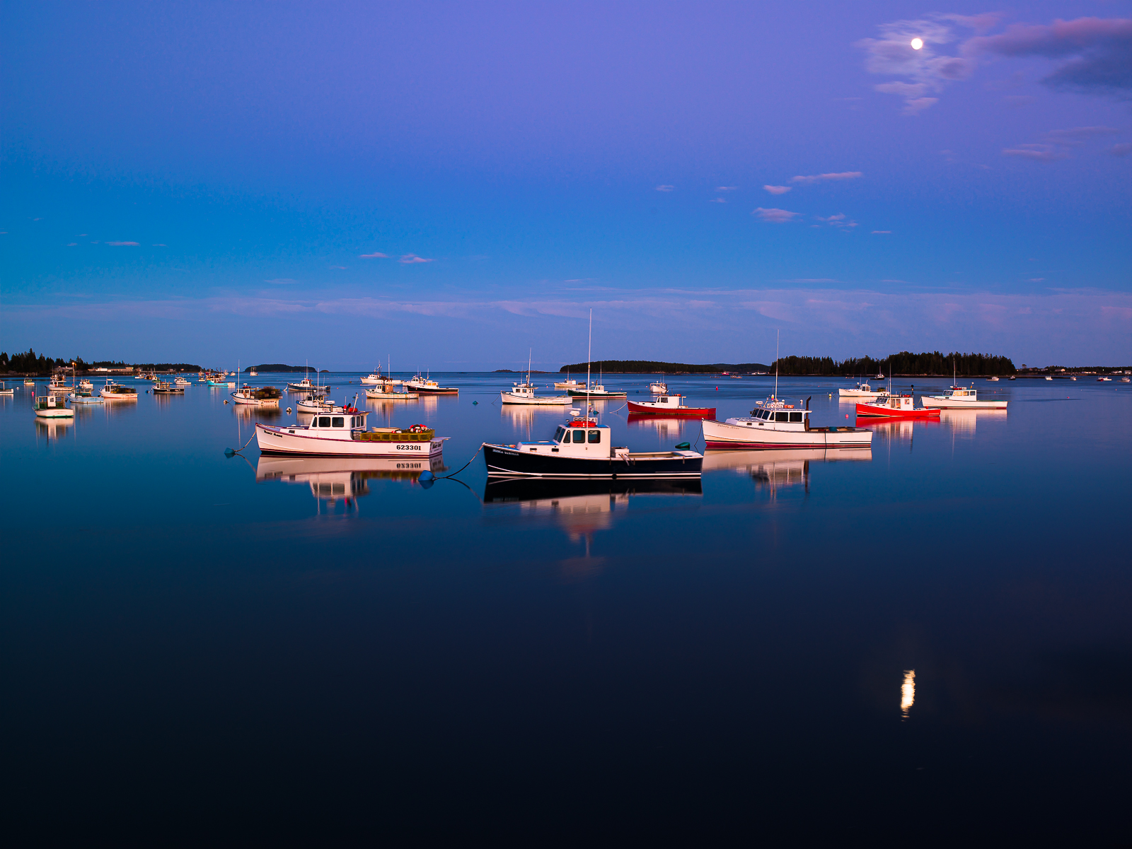 Moon over the Reach,Atlantic Ocean,Blue,Coast,Coastline,Fishing Boat,Lobster boat,Maine,Moon,New England,Night time,horizontal,long exposure, photo