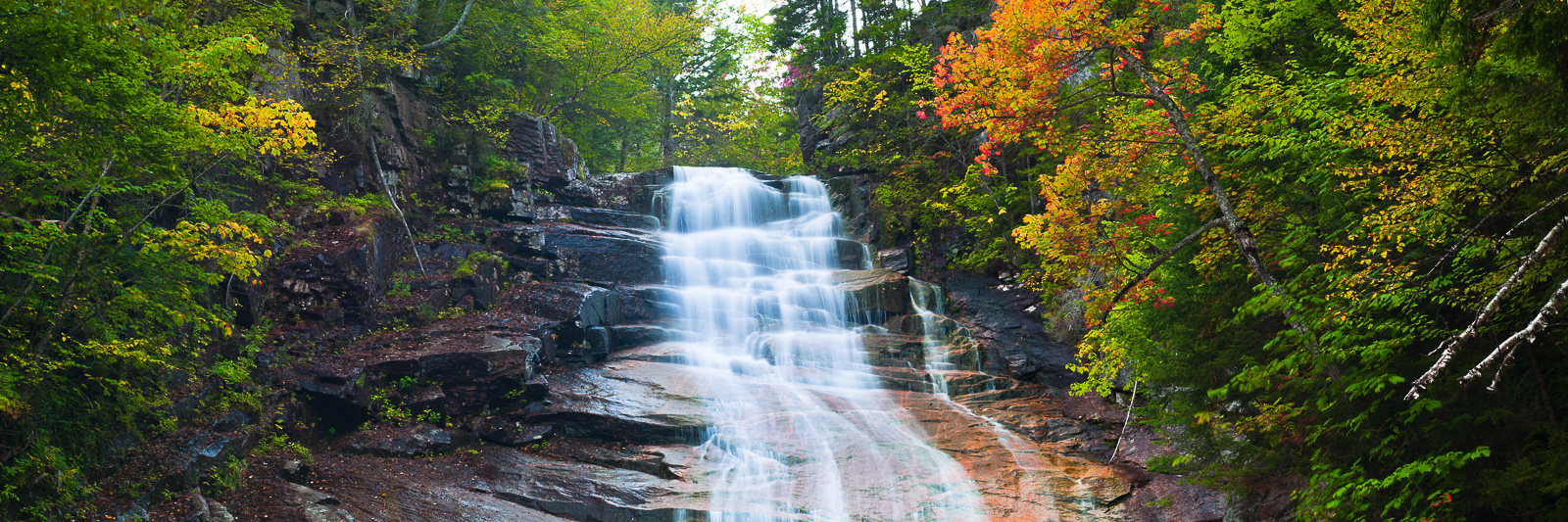 Autumn,Crawford Notch,Landscape,New England,New Hampshire,Panoramic,Ripley Falls,Waterfall,White Mountains,horizontal, photo