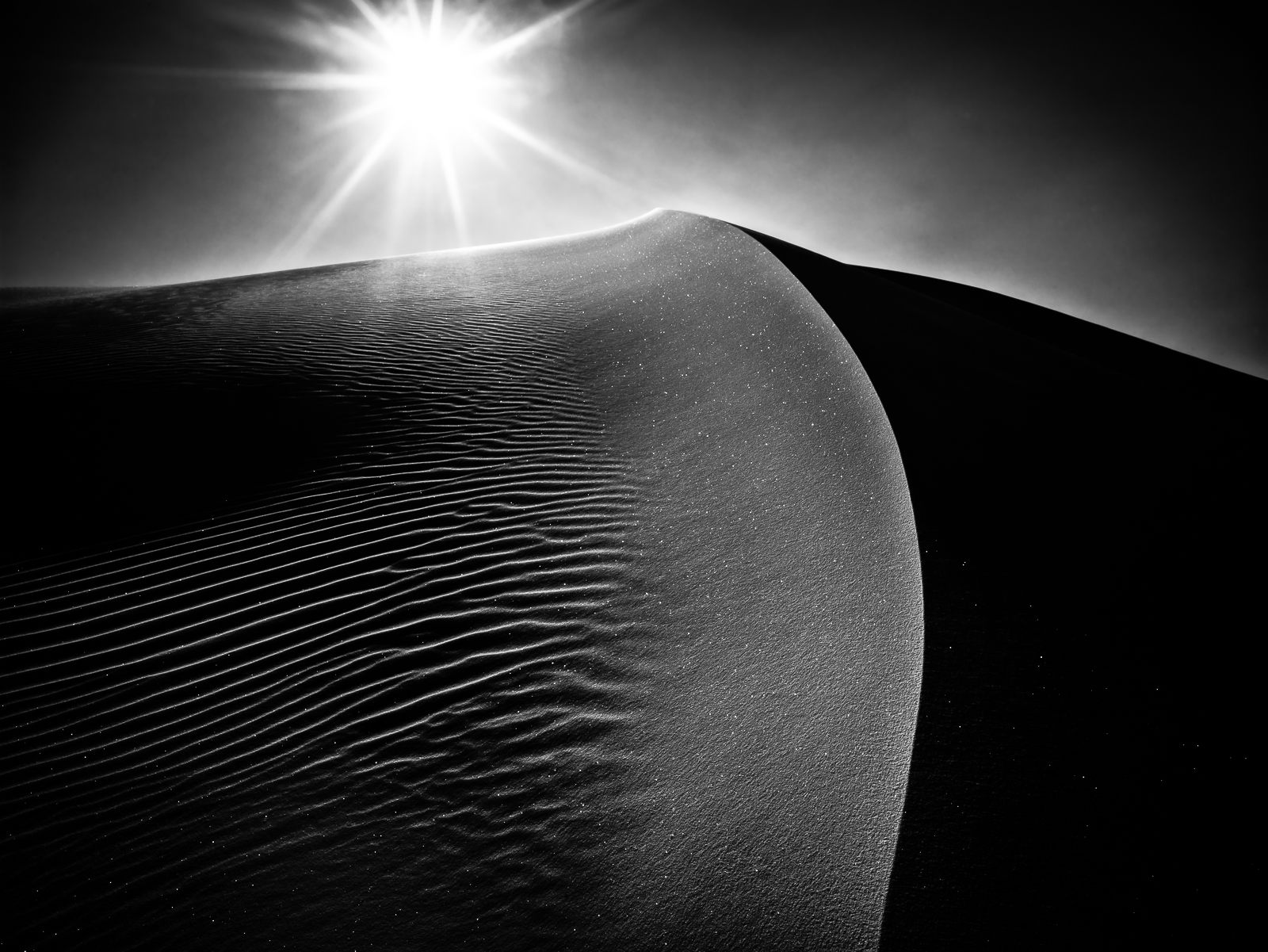 Star Dust, Black and White, Sand dunes, sunset, White Sands National Park, New Mexico, desert, sand, BW, B&W, Black, White, photo