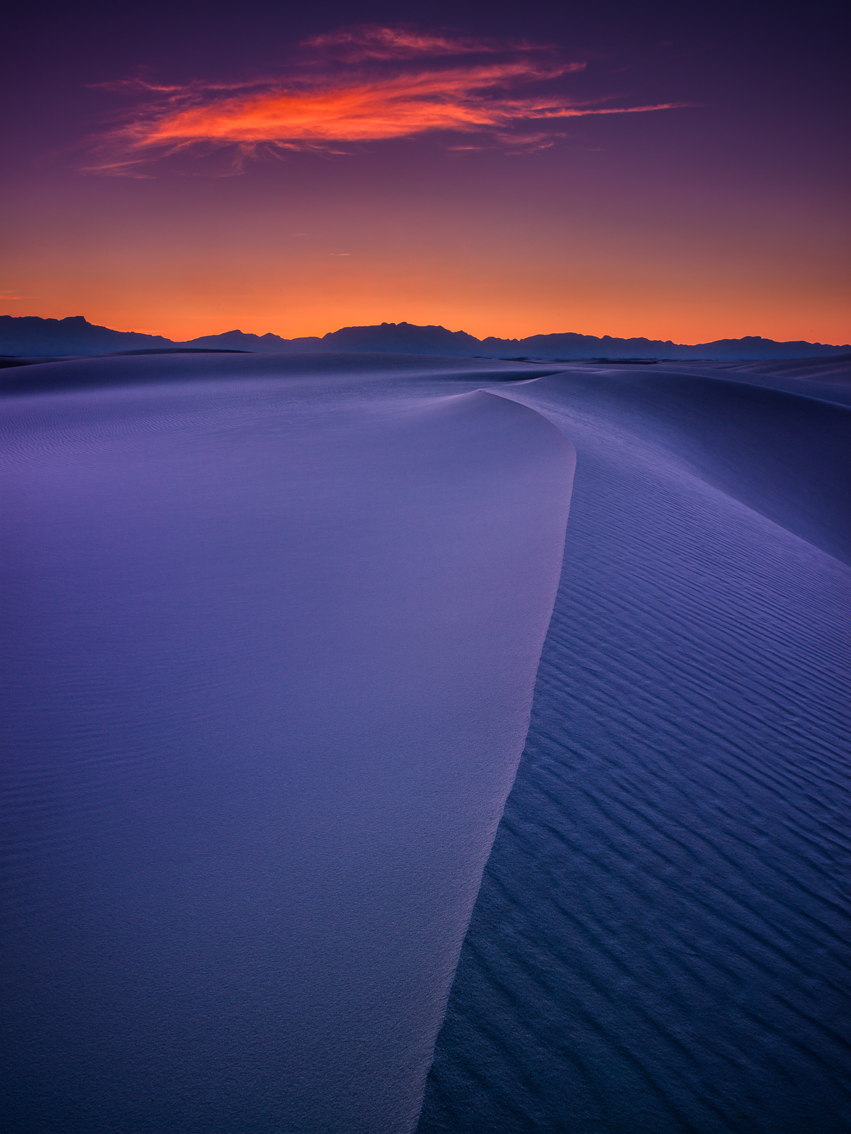 Sunset at White Sands National Monument, the largest  gypsum sand dunes in the world and site of incredible sunrises and sunsets...
