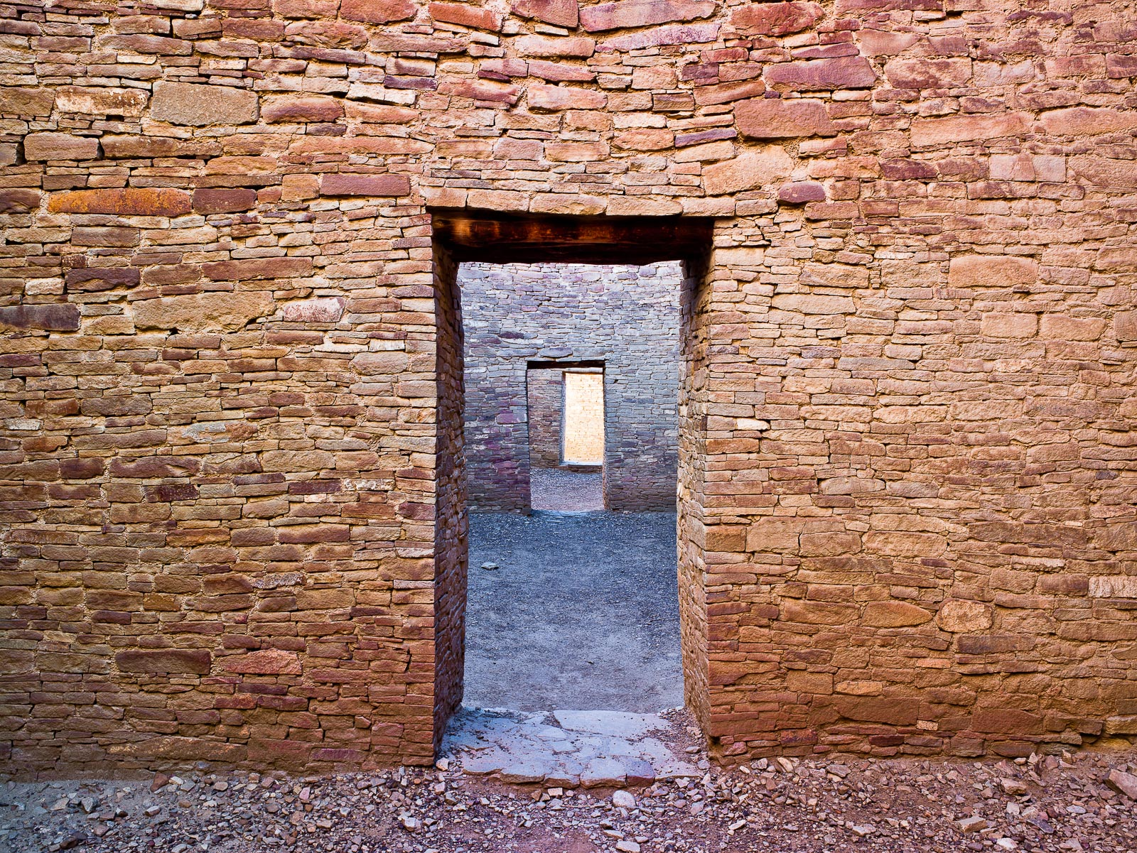 Golden Walls,American Native Architecture,Chaco NP,Chacoan Door,Pueblo Bonito,horizontal, photo