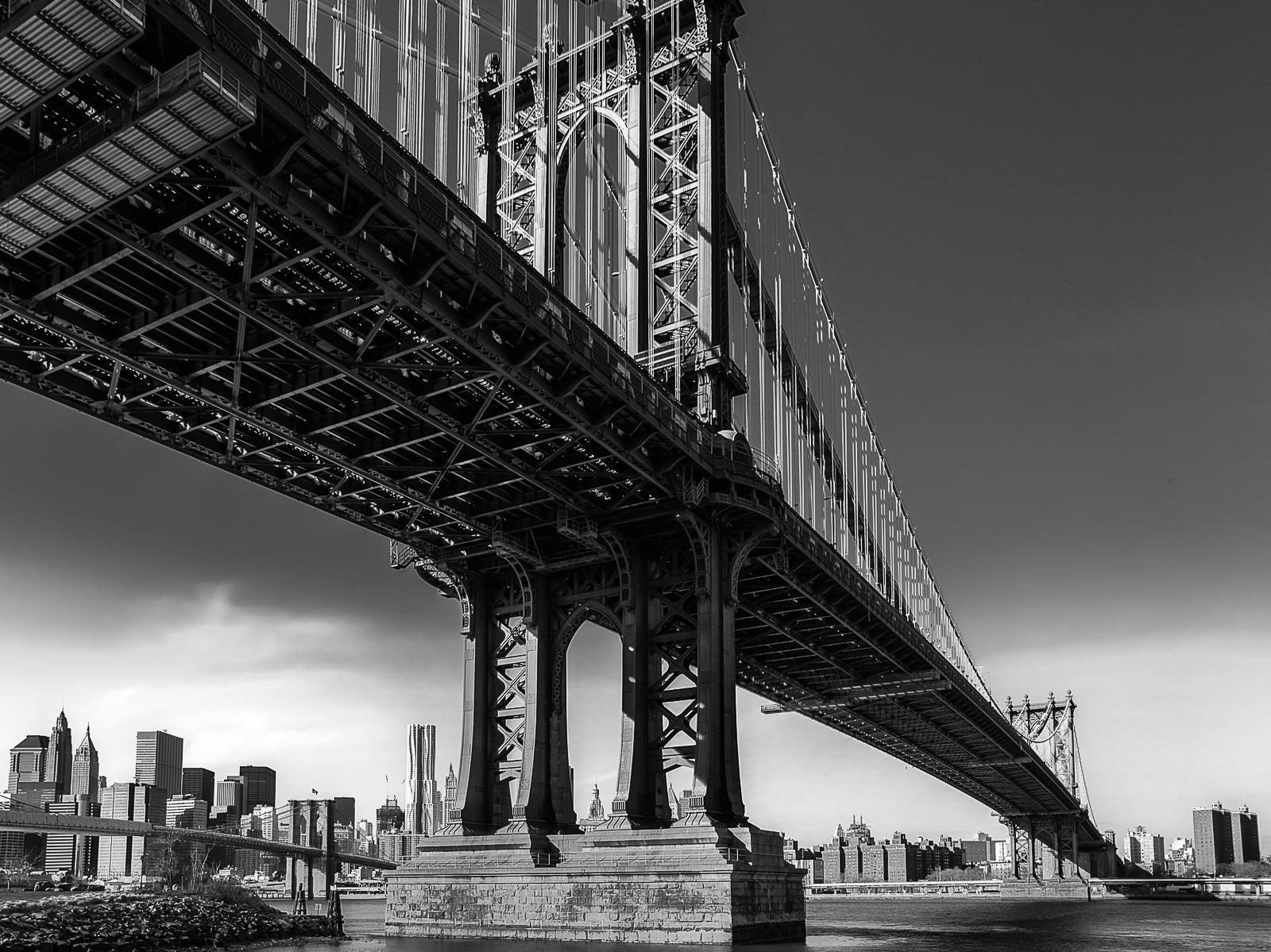 Manhattan Bridge, Black and White, Blue, Bridge, City Skyscape, Manhattan Bridge, New York, New York City, horizontal, BW, B&W, Black, White, photo