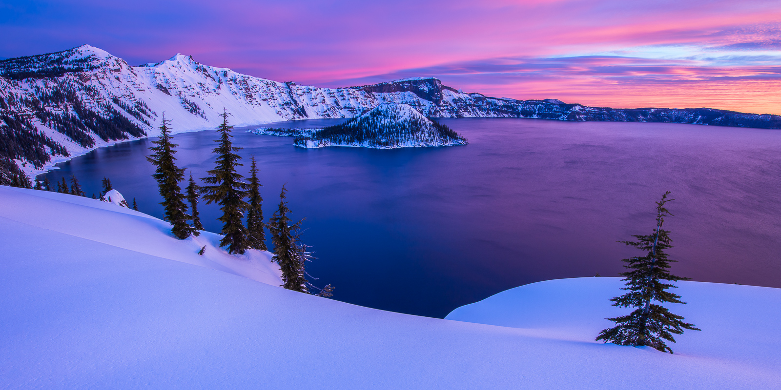 Crater Lake Blaze, Crater Lake National Park, winter, wilderness, photo