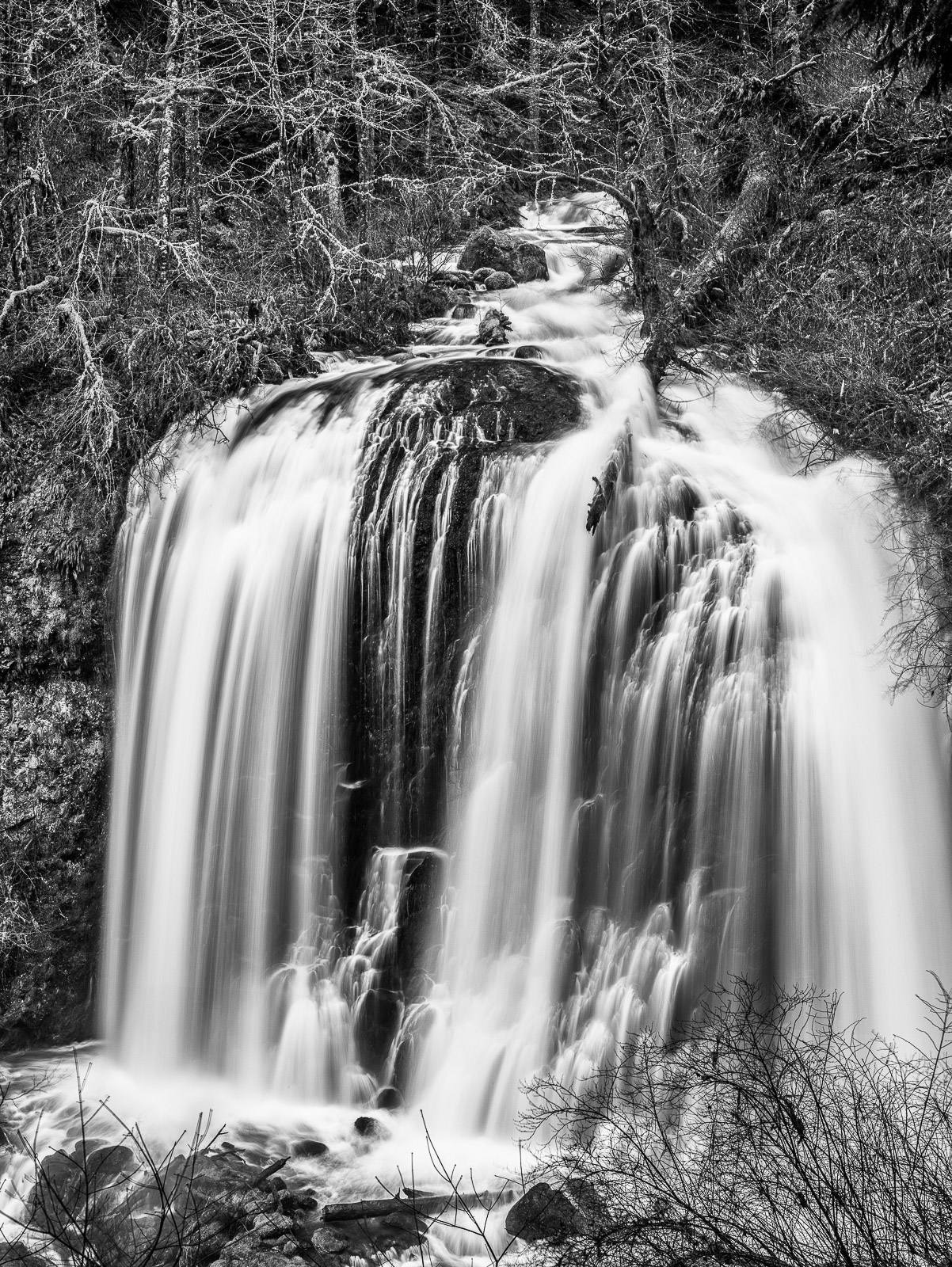 Columbia River Gorge, Oregon, The End, Black and White, waterfall, vertical, photo