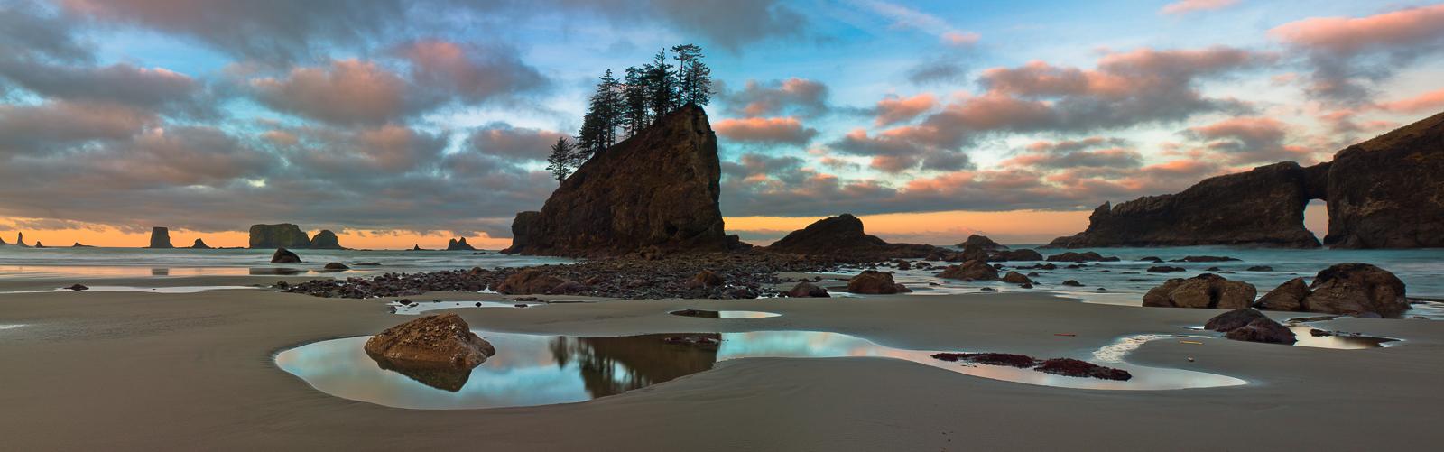 Sentinel Evergreens,Olympic National Park, Washington,sunrise,panoramic,water, photo