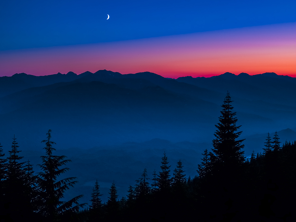 Moon, Sunset, Mount Baker-Snoqualmie National Forest, Washington, photo