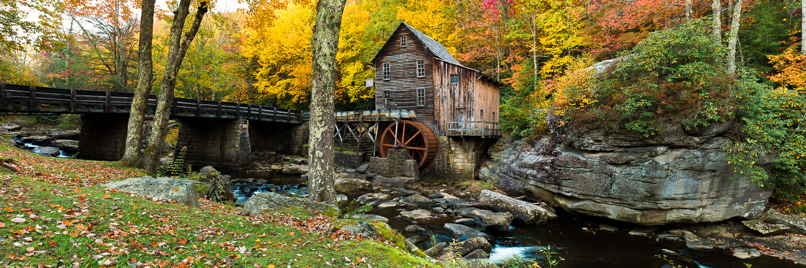 Fall Mill Resting,Horizontal,Panoramic,West Virginia,landscape,Babcock State Park, West Virginia,foliage,Mill,Glade Creek Grist, photo