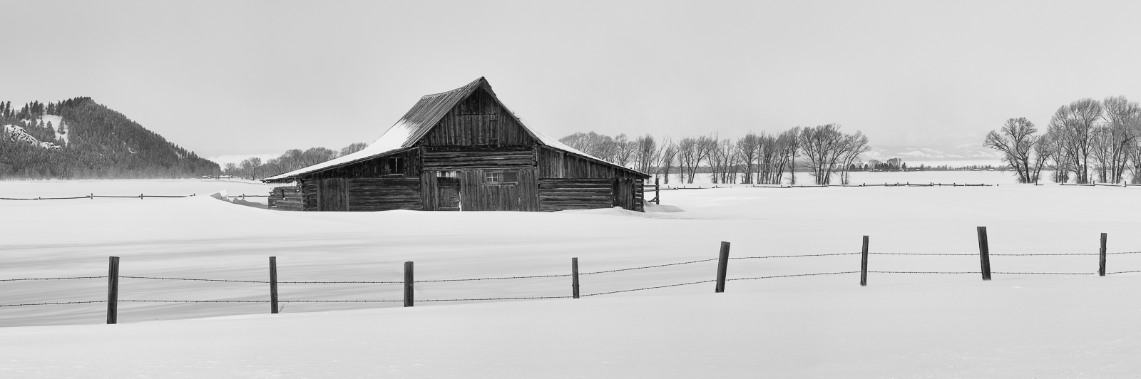 Grand Teton National Park, Wyoming, Winter At Mormon Row, Winter, Barn, horizontal